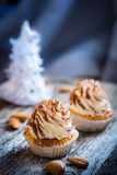 Tiramisu κρέμας επιδορπίων Cupcake Στοκ φωτογραφία με δικαίωμα ελεύθερης χρήσης