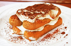 Tiramisu. Dessert on a plate Royalty Free Stock Image