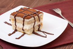 Tiramisu. Dessert served on a plate Stock Photography