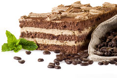 Tiramisu cake with bag of coffe Stock Image