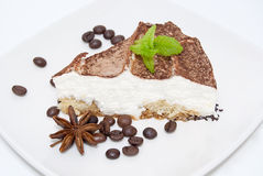 Tiramisu cake with bag of coffee beans Royalty Free Stock Photos