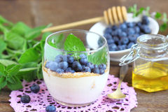 Tiramisu cake with  bog whortleberry and mint. 