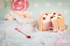 Tiramisu cake charlotte decorated with raspberry Royalty Free Stock Photos