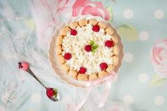 Tiramisu cake charlotte decorated with raspberry Stock Photos
