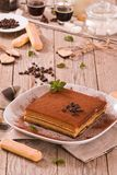 Tiramisu cake. Tiramisu cake with coffee bean on white dish royalty free stock images