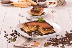 Tiramisu cake. Tiramisu cake with coffee bean on white dish royalty free stock image