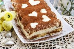 Tiramisu cake decorated with hearts Royalty Free Stock Image