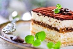 Tiramisu cake. Delicious Tiramisu cake with mint decoration Stock Image