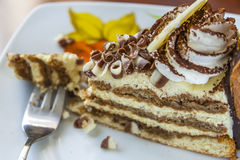 Tiramisu Cake And Fork On A Saucer Stock Images