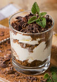 Tiramisu cake with fresh mint. Royalty Free Stock Images