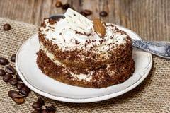Tiramisu cake on hessian napkin Stock Photo