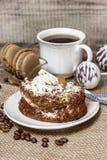 Tiramisu cake on hessian napkin Stock Images