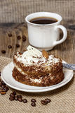 Tiramisu cake on hessian napkin Stock Photography