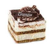 Tiramisu cake isolated on white Royalty Free Stock Images