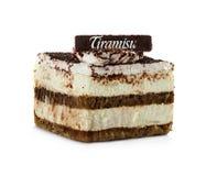 Tiramisu cake isolated on white Stock Image