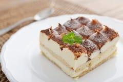 Tiramisu cake with mint Royalty Free Stock Photography