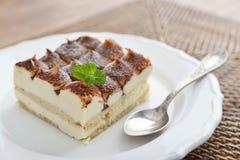 Tiramisu cake with mint Royalty Free Stock Photos