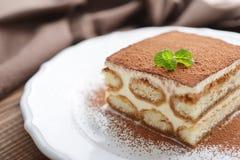 Tiramisu cake with mint Stock Photo