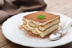 Tiramisu cake with mint Stock Photos