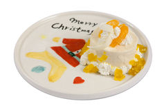 Cake on plate christmas Stock Photo