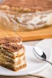 Tiramisu Cake On Plate Stock Image