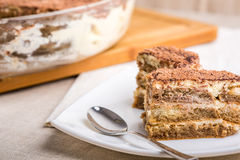 Tiramisu Cake On Plate Stock Photography