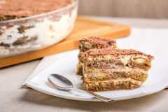 Tiramisu Cake On Plate Royalty Free Stock Image