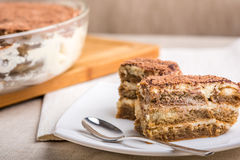 Tiramisu Cake On Plate Royalty Free Stock Photos