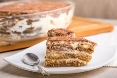 Tiramisu Cake On Plate Royalty Free Stock Images
