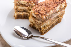 Tiramisu Cake On Plate Stock Image