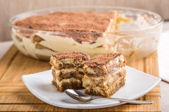 Tiramisu Cake On Plate Royalty Free Stock Photo