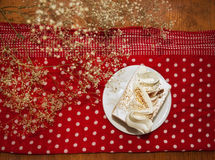 Tiramisu cake and polka dots Stock Photography