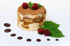 Tiramisu cake with raspberries. Stock Photography