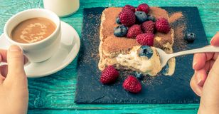 Tiramisu cake with raspberries and blueberries. Homemade tiramisu dessert. Traditional Italian cuisine Royalty Free Stock Photography