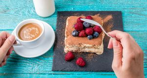 Tiramisu cake with raspberries and blueberries. Homemade tiramisu dessert. Traditional Italian cuisine Royalty Free Stock Images