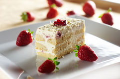 Tiramisu cake with strawberry Stock Image