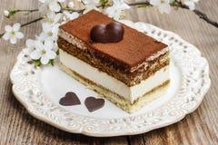 Tiramisu cake on white plate Royalty Free Stock Photo
