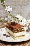 Tiramisu cake on white plate Royalty Free Stock Images
