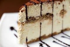 Tiramisu cake on a white plate Royalty Free Stock Photography