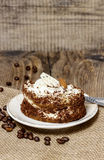 Tiramisu cake on wooden background Stock Photography