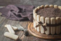 Tiramisu cake on the wooden board Royalty Free Stock Image