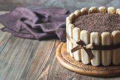 Tiramisu cake on the wooden board Royalty Free Stock Photos