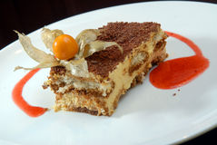 Tiramisu with a chocolate crumb Royalty Free Stock Photography