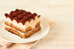 Tiramisu. Classical dessert with mascarpone and coffee Stock Image