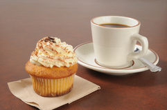 Tiramisu Cupcake and Coffee Royalty Free Stock Photo
