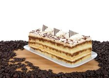 Tiramisu dado forma retangular na placa cercada por feijões de café imagem de stock royalty free