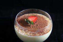 Tiramisu dessert. Photograph of tiramisu food dessert on black background Royalty Free Stock Photography