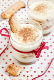 Tiramisu dessert. With biscuits in glass Royalty Free Stock Images