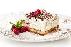 Tiramisu Dessert. Berries Tiramisu Dessert with Cinnamon and Coffee. Garnished with Raspberry and Mint royalty free stock photo