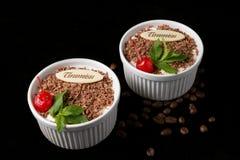 Tiramisu dessert on black background. Tiramisu dessert, with chocolate, decorated by cherry and mint on black background Stock Images